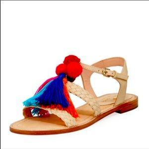 Kate Spade Sunset Pom Pom Tasseled Sandals, sz 8